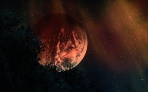 Картинка рендеринг, фон, планета, звёзды