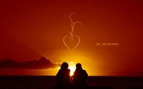 Картинка закат, пара, влюбленные