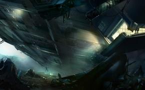Картинка космический корабль, высадка, скалы, люди, арт