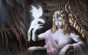 Картинка девушка, дракон, кресло, арт, фэнтази, трон