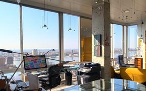 Обои стиль, интерьер, мегаполис, помещение, office, студия, дизайн