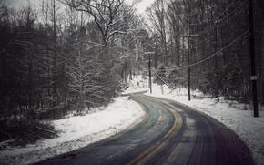 Картинка дорога, деревья, линия электропередач, снег, зима