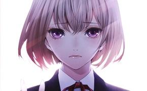 Картинка девушка, крупный план, пальцы, бант, art, Kiyohara Hiro