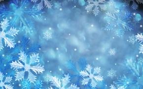 Обои снежинки, голубой, узоры