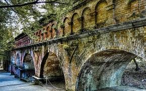 Картинка осень, мост, hdr, арка