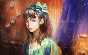 Картинка глаза, взгляд, лицо, комната, лампа, арт, девочка, бант