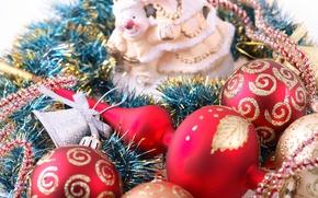 Картинка новогодние игрушки, украшения, новый год, шары