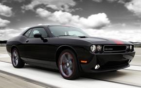Картинка небо, облака, чёрный, тюнинг, мускул кар, додж, dodge, challenger, tuning, передок, Muscle car, челенжер, rallye …