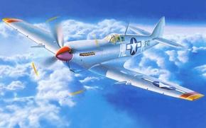Картинка самолет, истребитель, арт, английский, Spitfire, Supermarine, WW2., времен, спитфайр, супермарин, Мк 8