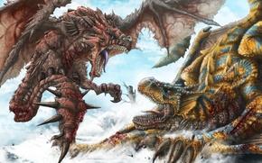 Картинка снег, кровь, драконы, арт, шипы, пасть, битва, раны