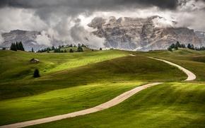 Обои луга, поля, Италия, горы, дорога, деревья, Trentino, Alto Adige, домик, зелень, скалы, облака