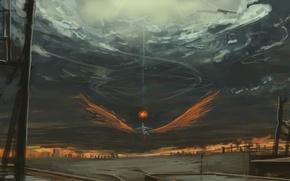Картинка ночь, магия, крылья, горизонт, fujiwara no mokou, проект Восток, touhou project, мрачное небо