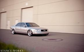 Картинка Audi, ауди, серая, tuning, low, stance works