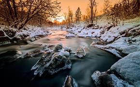 Картинка лед, зима, лес, снег, деревья, закат, природа, река, Норвегия