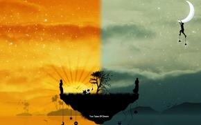 Обои свет, радость, луна, остров
