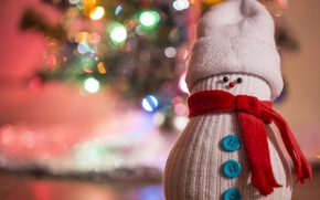 Картинка праздник, игрушка, снеговик, ёлка