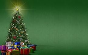 Картинка фон, настроение, праздник, звезда, елка, подарки