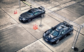 Картинка машины, Koenigsegg, тачки, плиты, Toyota, Supra, суперкары, CCXR, 2 штуки