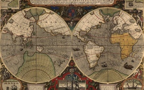 Картинка море, океан, земля, рисунок, корабль, остров, карта, материк