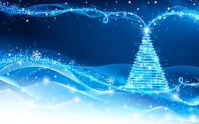 Картинка Линии, Снежинки, Новый год, Елка, Текстуры