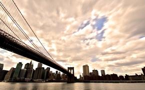 Картинка небо, вода, солнце, city, город, америка, сша, new york, america, usa, нью йорк, манхэттен, manhattan, ...