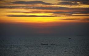 Картинка море, закат, фон, обои, пейзажи, вечер, Индия