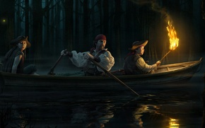Картинка вода, ночь, арт, речка, Рон Крабб, лодка факел, Ron Crabb