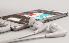 Картинка Smartphone, White, Headphones, Sony, 2014, Xperia