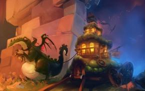 Картинка дракон, поезд, фэнтези, арт, домик, fantasy, телега, art, Wagon dragon, вьючный, Oritey