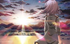 Картинка небо, девушка, солнце, облака, закат, горы, природа, спина, аниме, арт, eden, sakurano kurimu