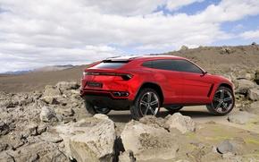 Картинка джип, красный, Concept, небо, Lamborghini, вид сзади, Ламборгини, концепт, Urus, Урус, камни