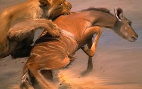Арт, Рисунок, Painter, Краски, Живопись, Животные, Лев, Схватка, Добыча обои