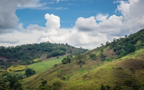 Обои Минас-Жерайс, Бразилия, небо, скот, фермы, дом, холмы, долины, облака