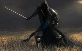 Картинка поле, дождь, тьма, человек, череп, меч, арт, капюшон, мертвец