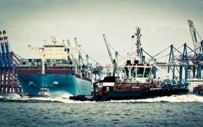 Картинка Maersk Essex, Вода, Борт, Бак, Порт, Гамбург, Судно, Контейнеровоз, Краны, Море, Maersk, Отход, Германия, Корпус, ...