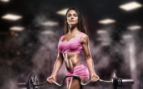Картинка pose, workout, fitness model, dumbbell