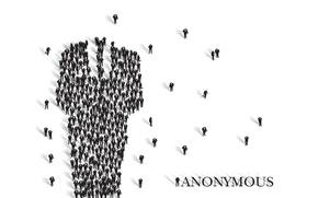 Картинка силуэт, тени, много, анонимус, Anonymous