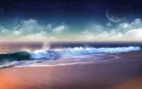 Обои облака, волна, Берег