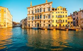Картинка вода, дома, лодки, Италия, Венеция, канал, солнечно, сваи