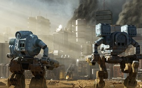 Картинка город, роботы, мегаполис