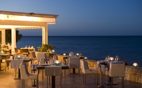 Картинка город, вечер, ресторан, terrace, restaurant
