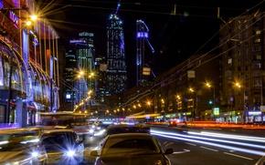 Картинка ночь, Москва, Россия, Russia, Moscow, night light