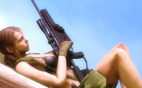 Картинка грудь, девушка, снайпер, винтовка, Metal Gear Solid, konami, kojima productions, hideo kojima, The Phantom Pain, …