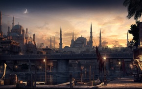 Картинка город, графика, мечеть, рендер, Константинополь