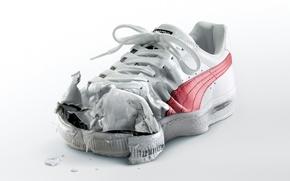 Обои белый, порваный, кросовок