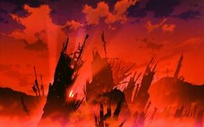 Картинка обломки, апокалипсис, разрушения, art, Neon genesis evangelion, руины города, кровавый туман, Hirochi Katou