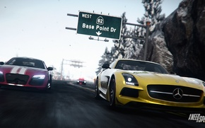 Картинка Audi, Mercedes, Need for Speed, nfs, SLS, 2013, Rivals, NFSR, нфс, Base Point Drive