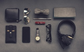 Картинка бабочка, часы, наушники, очки, ручка, блокнот, мужчина, смартфон, набор, хипстер, визитница, джентльмен, джентльменский