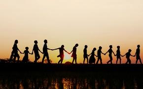 Обои закат, дети, Индия, силуэт, рисовое поле, штат Андхра-Прадеш
