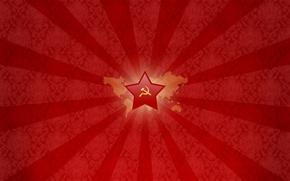 Обои Молот, Серп, звезда, СССР, красный